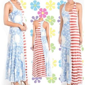 Made in the USA American Flag Print Maxi Dress